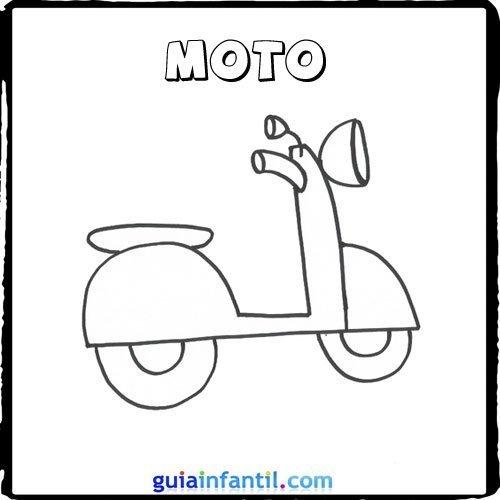 Dibujo de una moto para pintar con los niños