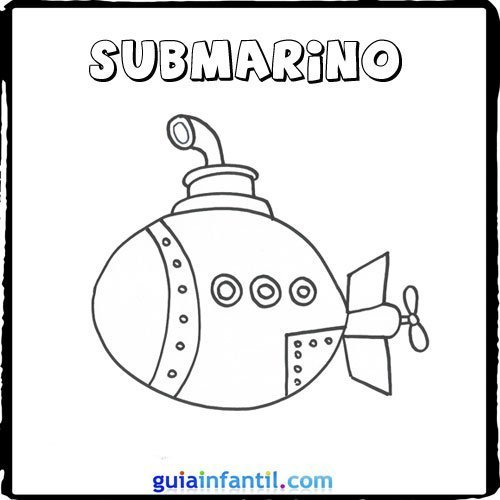 Dibujo de un submarino para pintar con los niños