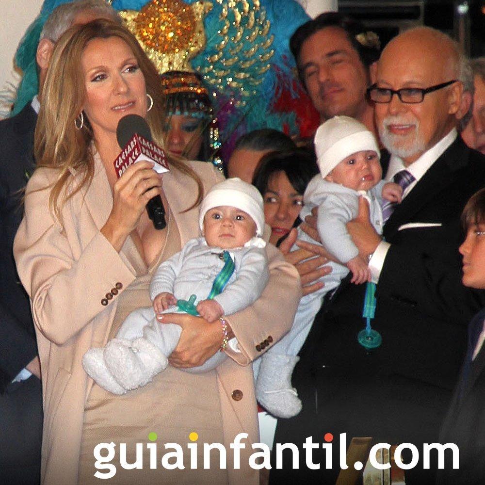 La cantante Celine Dion con sus hijos gemelos