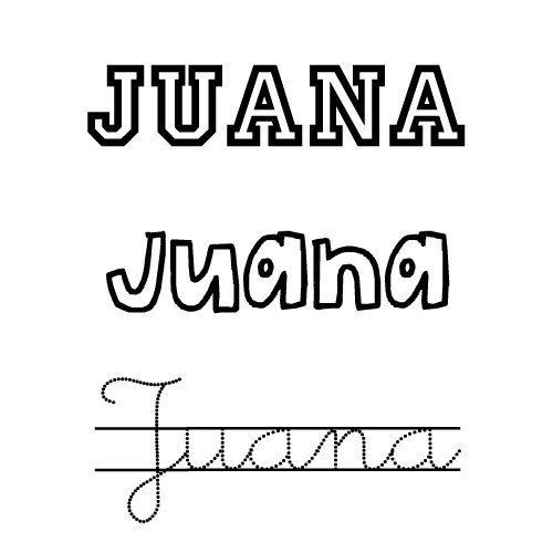 Nombre Juana para imprimir y colorear