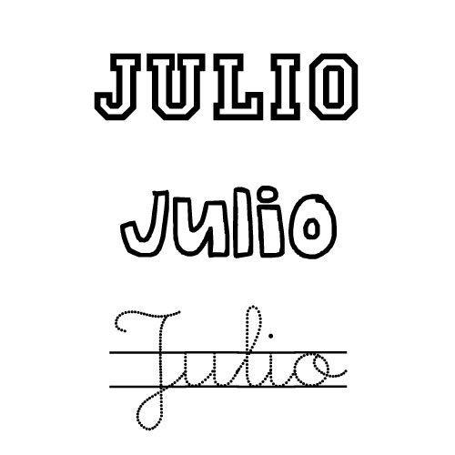 Nombre para niños Julio. Dibujos para colorear