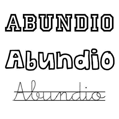 Dibujo para pintar del nombre para niños Abundio