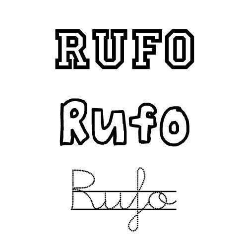 Dibujo del nombre Rufo para imprimir y pintar