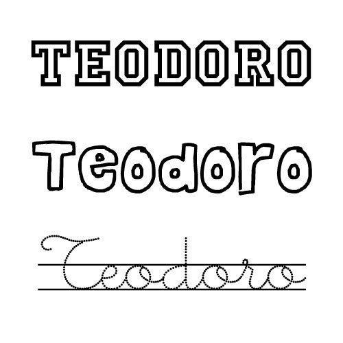 Nombre Teodoro para imprimir y colorear