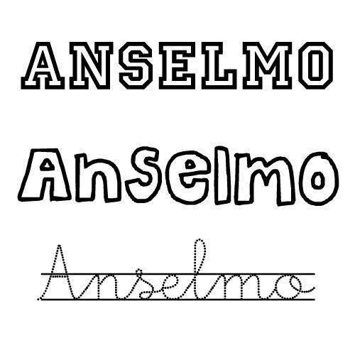Dibujo del nombre Anselmo para pintar