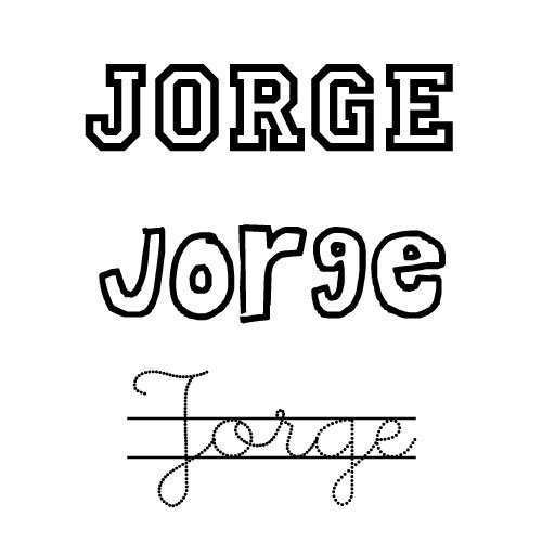 Nombre Jorge para imprimir y colorear