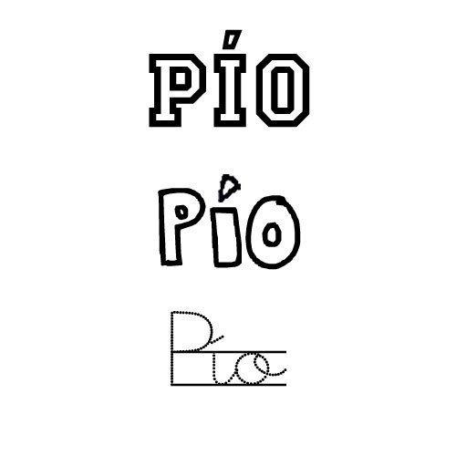 Dibujo del nombre para niños Pío para colorear