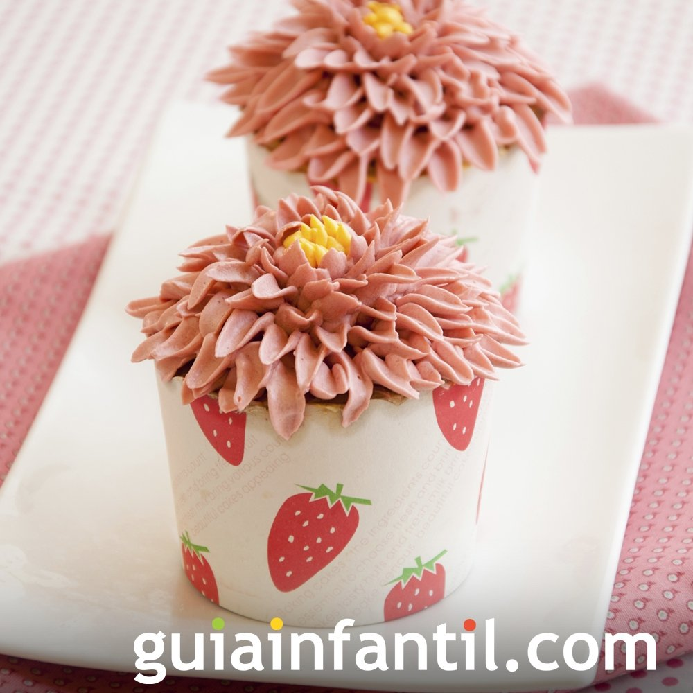 Cupcake en forma de girasol para el Día de la Madre