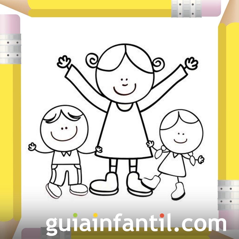 Mamá Con Sus Hijos Dibujos Para Colorear El Día De La Madre