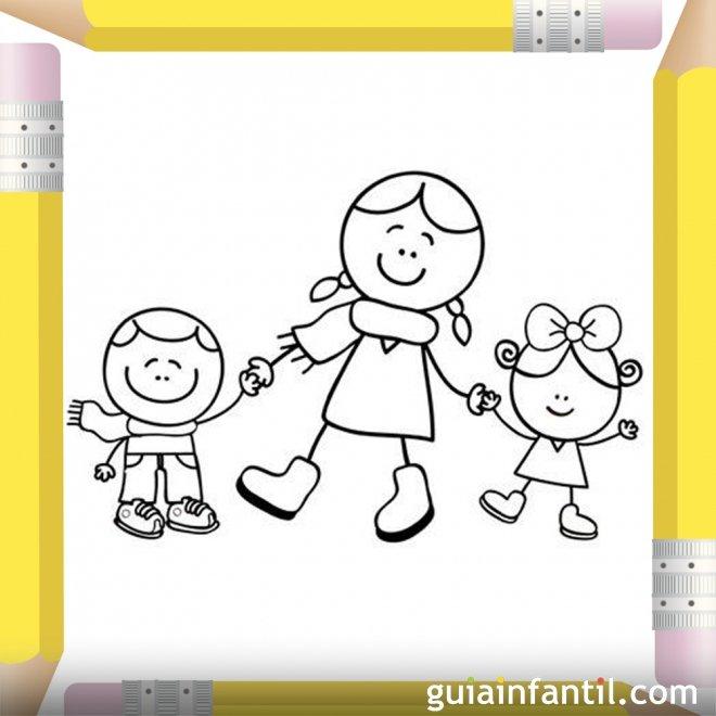 Mamá paseando con sus hijos. Dibujos para pintar el Día de la Madre