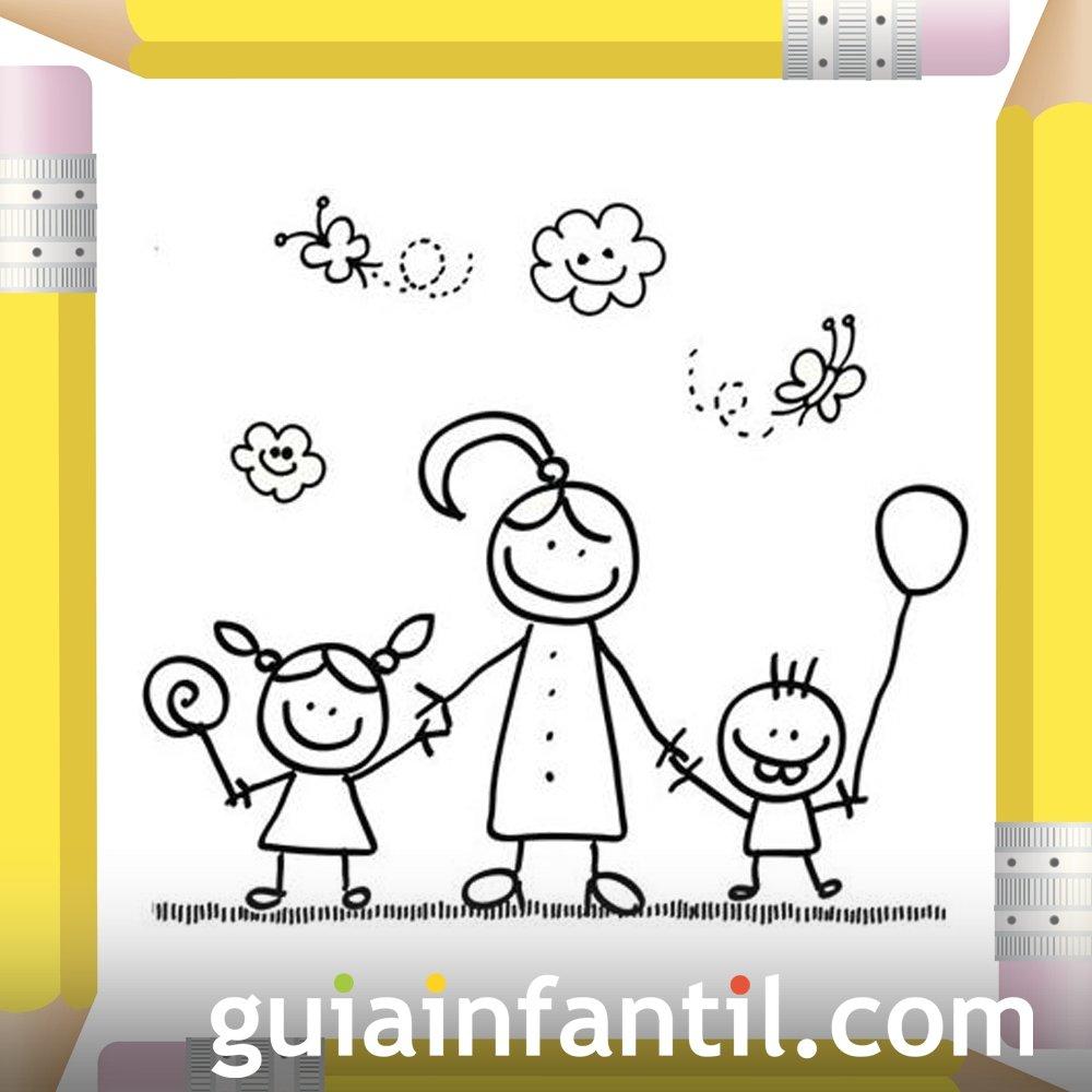 Niños Con Su Mamá Dibujos Para Colorear El Día De La Madre