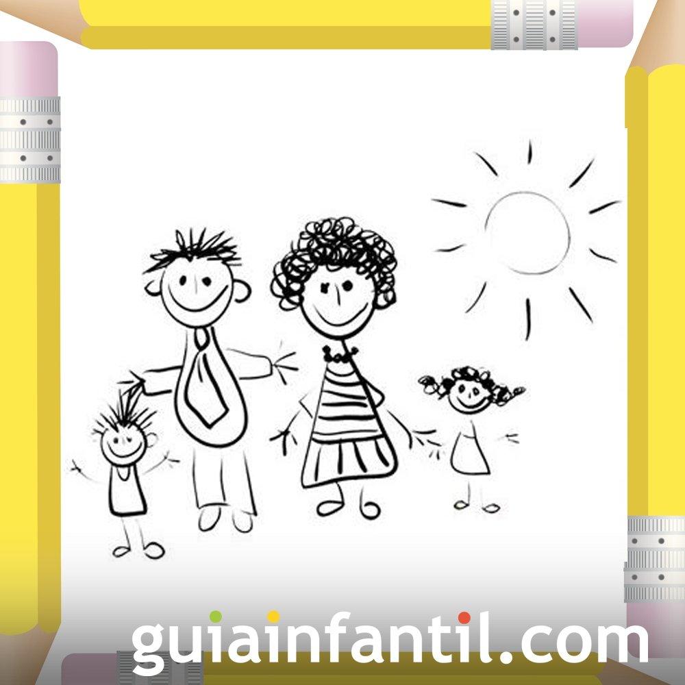 Familia de paseo. Dibujos para colorear el Día de la Madre