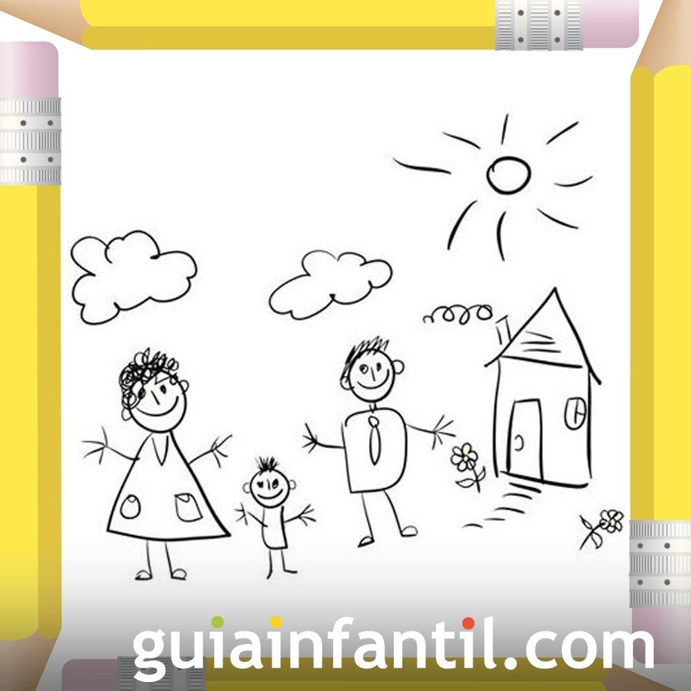 Familia en su casa. Dibujos para colorear el Día de la Madre