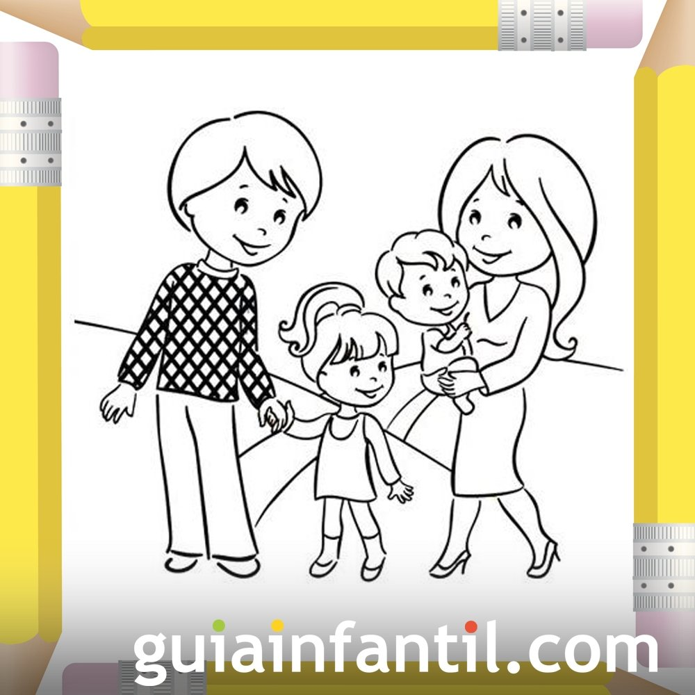Papás Con Sus Hijos Dibujos Para Pintar El Día De La Madre