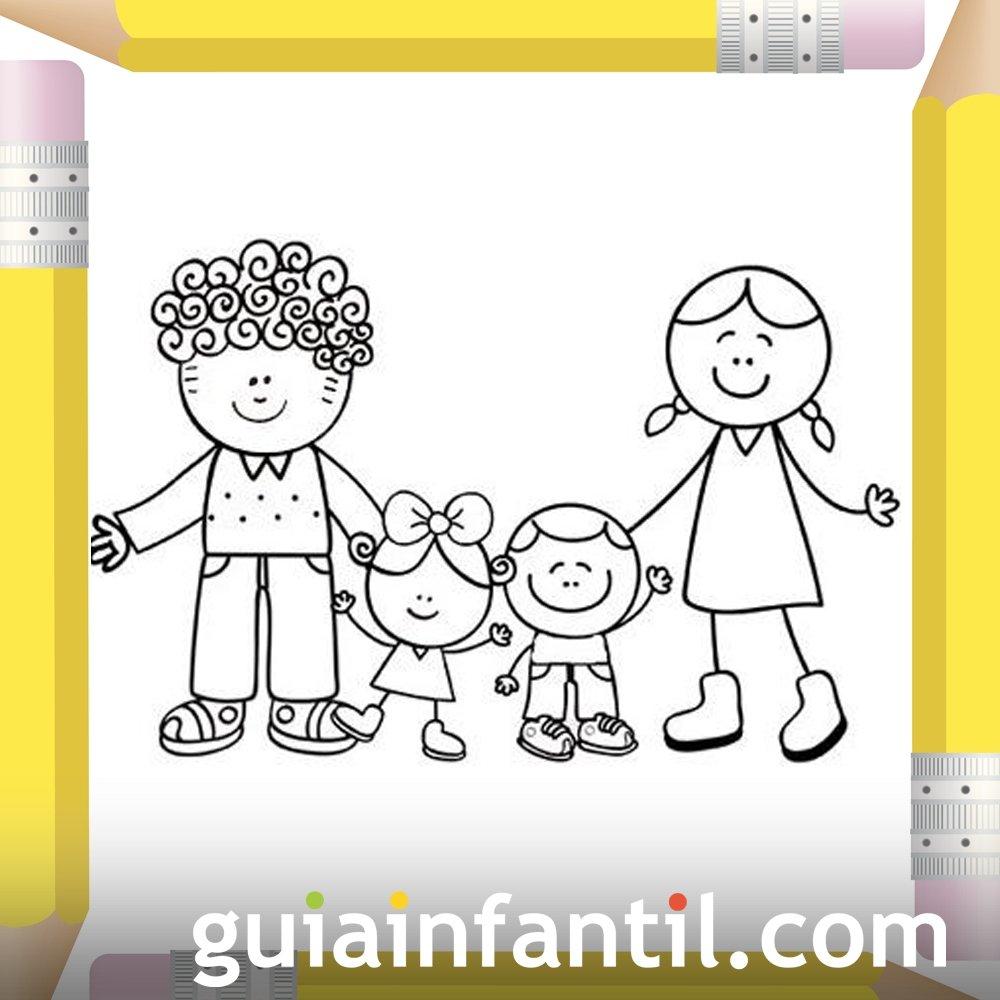Padres Con Sus Hijos Dibujos Para Colorear El Día De La Madre