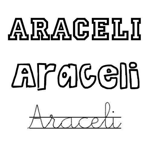Imprimir Imagen del nombre Araceli para imprimir y pintar