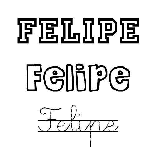 Dibujo del nombre Felipe para pintar