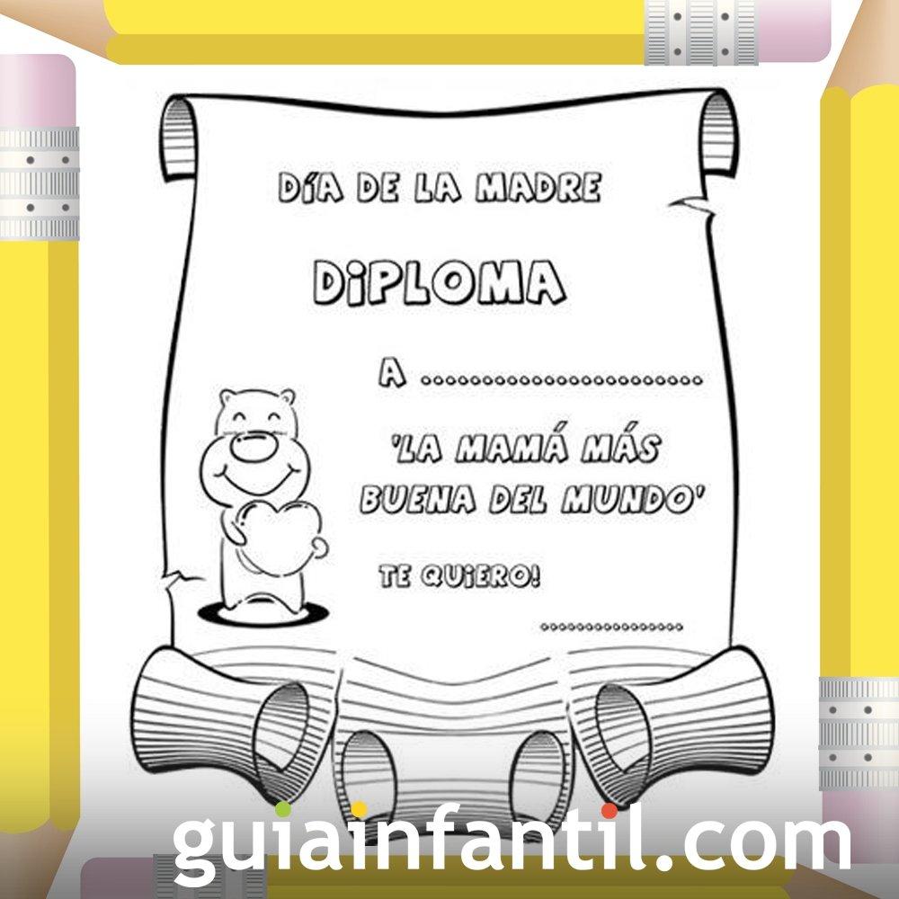 Diploma A La Madre Más Buena Dibujos Para Colorear