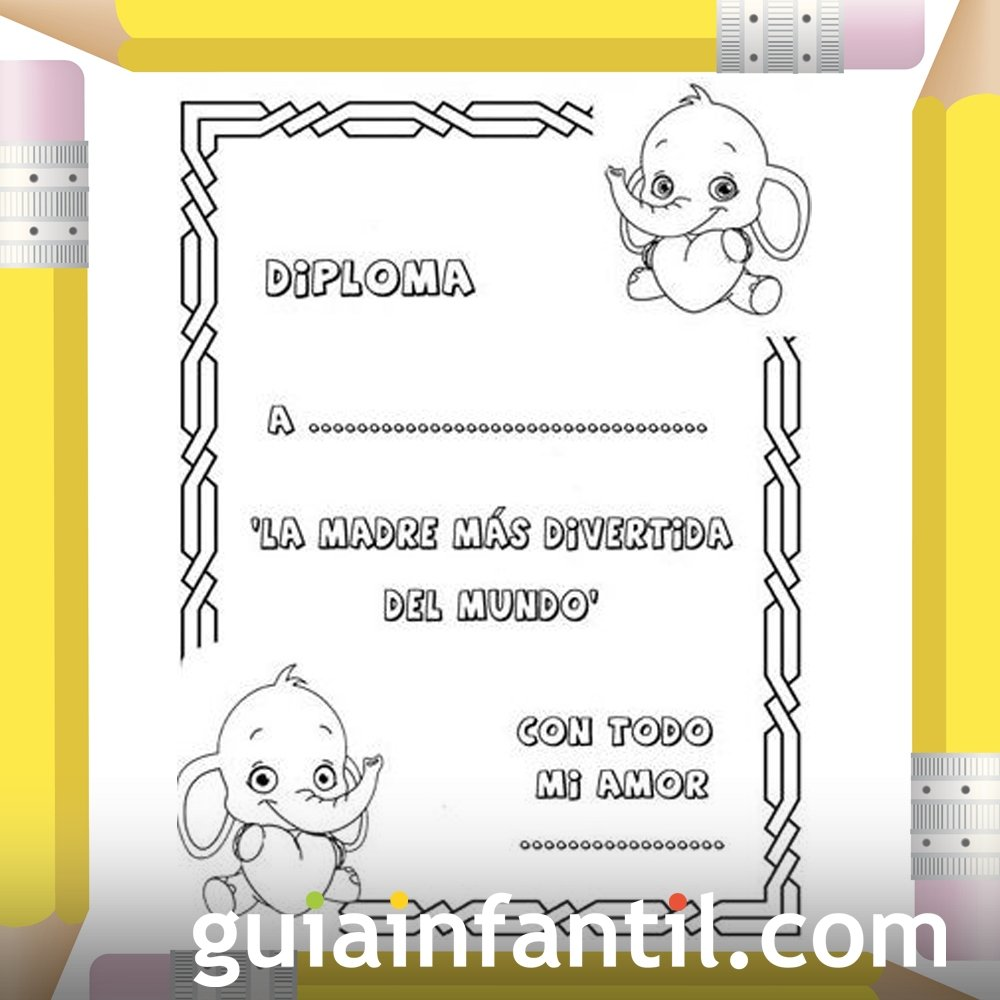 Diplomas Día De La Madre Dibujos Para Colorear Con Niños