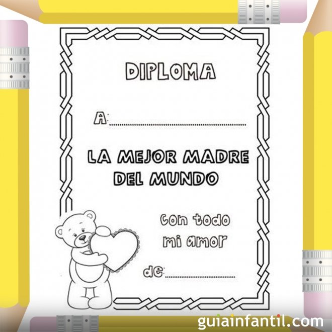 Diploma a la mejor mam Dibujos para pintar  Diplomas Da de la
