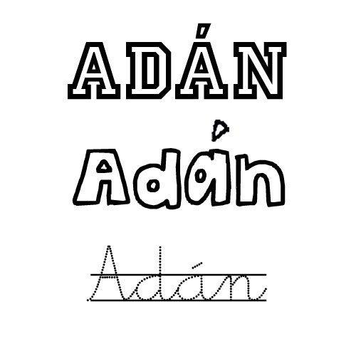 Dibujo del nombre Adán para pintar con los niños