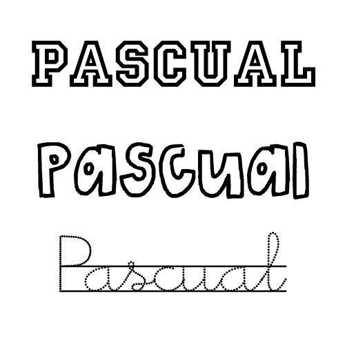 Dibujo del nombre Pascual para colorear con los niños