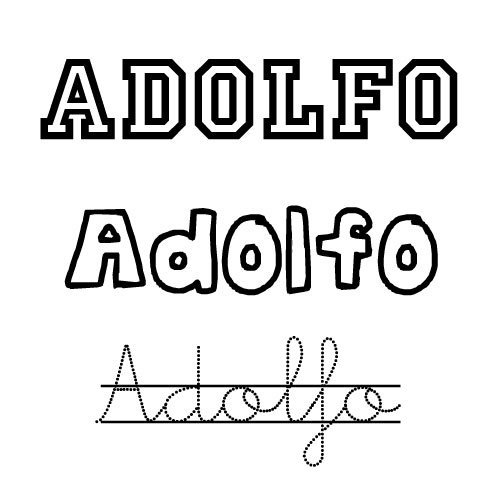 Dibujo del nombre para niños Adolfo para imprimir