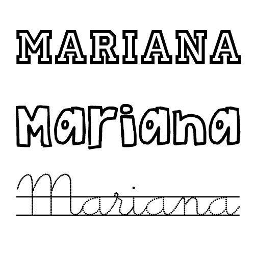 Dibujos para colorear del nombre Mariana
