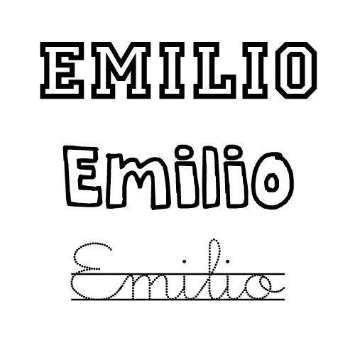 Dibujo para pintar del nombre Emilio