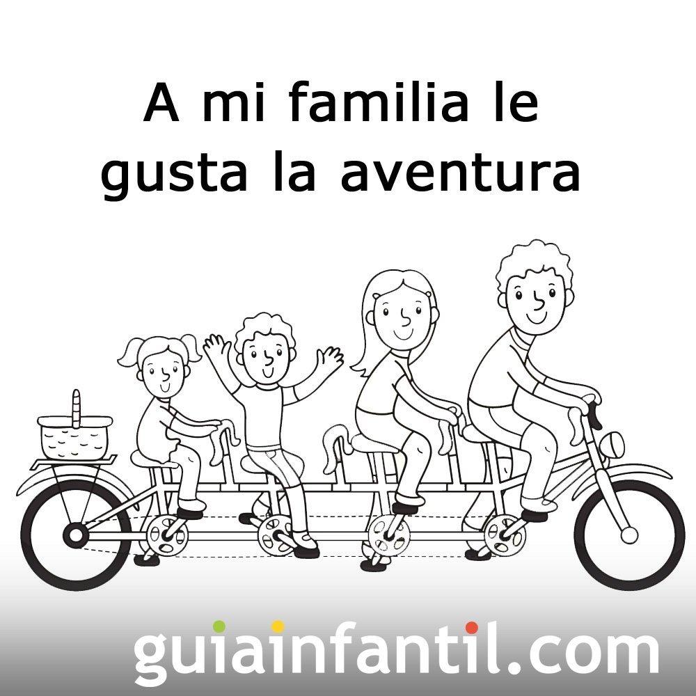 Postales para el Día de la Familia. Padres e hijos en bicicleta