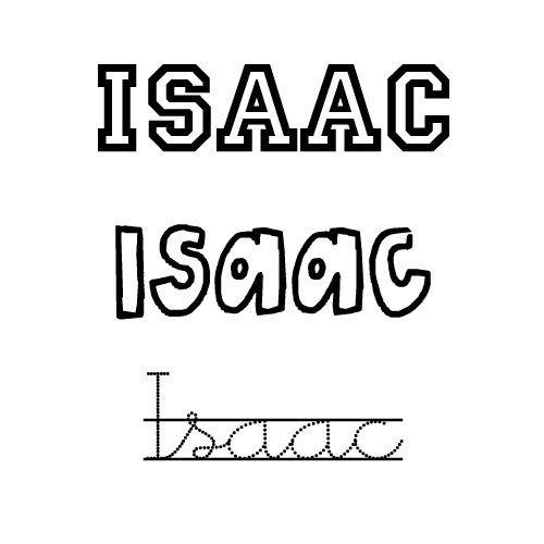 Nombre Isaac para imprimir y colorear