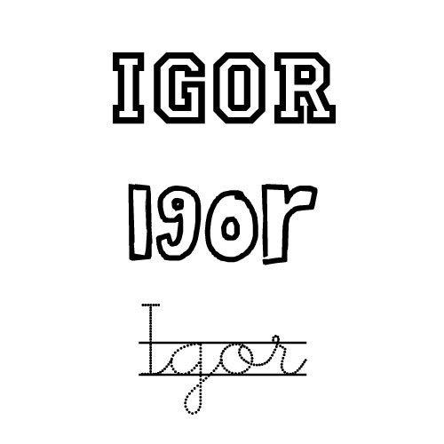 Dibujo del nombre para niños Igor para colorear