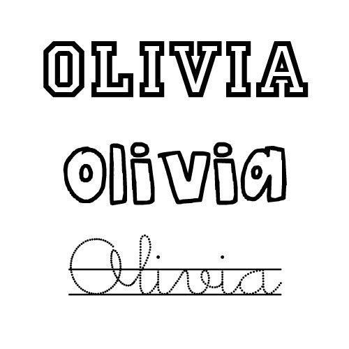 Dibujo del nombre para niñas Olivia para pintar