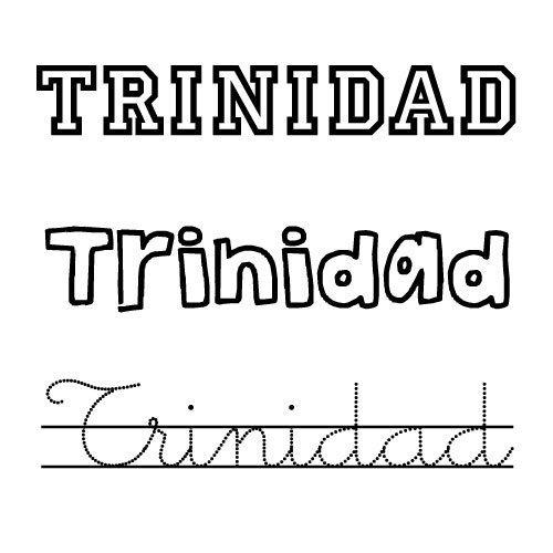 Dibujos de nombres para colorear. Nombre Trinidad