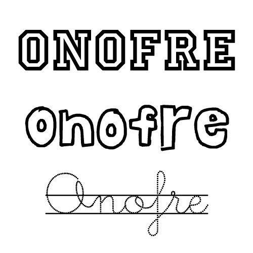 Imagen del nombre para niños Onofre para imprimir