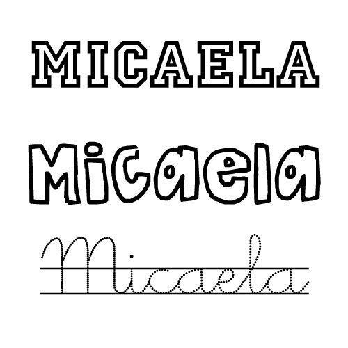 Imagen del nombre Micaela para colorear
