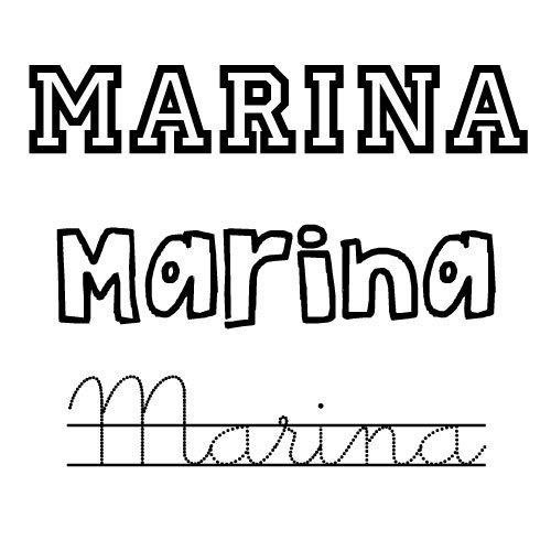 Dibujo del nombre para niñas Marina