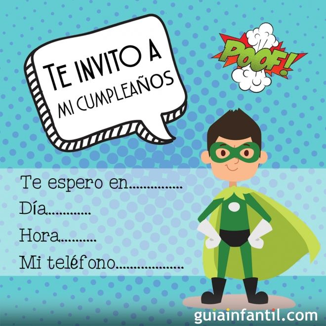 Invitación de cumpleaños para niños con un superhéroe