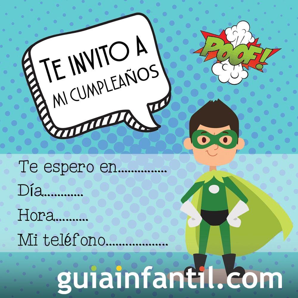 3f4da61d5f253 Invitación de cumpleaños para niños con un superhéroe