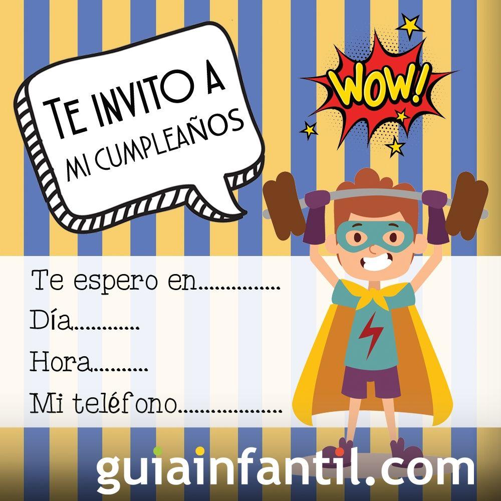 Invitación de cumpleaños con dibujos de superhéroes