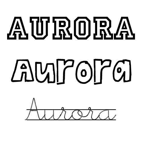 Dibujo del nombre Aurora para niñas