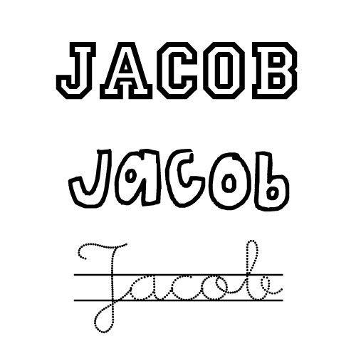 Dibujo del nombre para niños Jacob