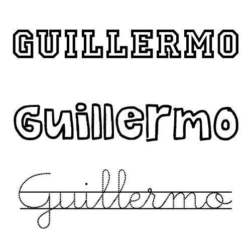 Dibujo del nombre de Guillermo para imprimir
