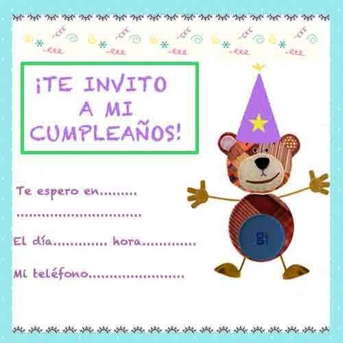 Invitación para fiestas de Cumpleaños con el Oso Traposo