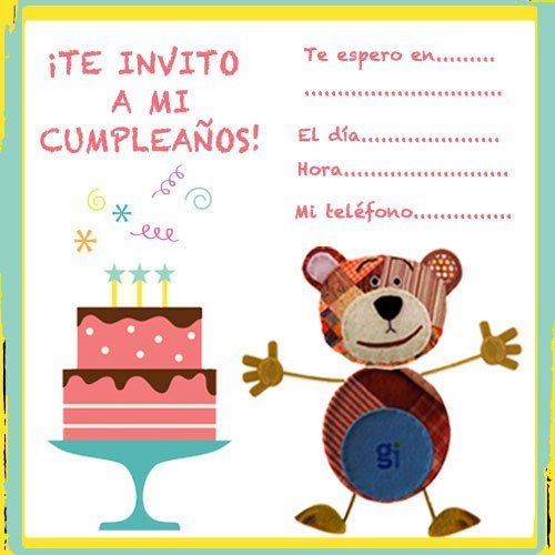 Invitaciones de cumpleaños con el Oso Traposo y una tarta