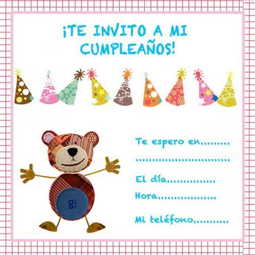 Invitaciones de cumpleaños con dibujos infantiles del Oso Traposo
