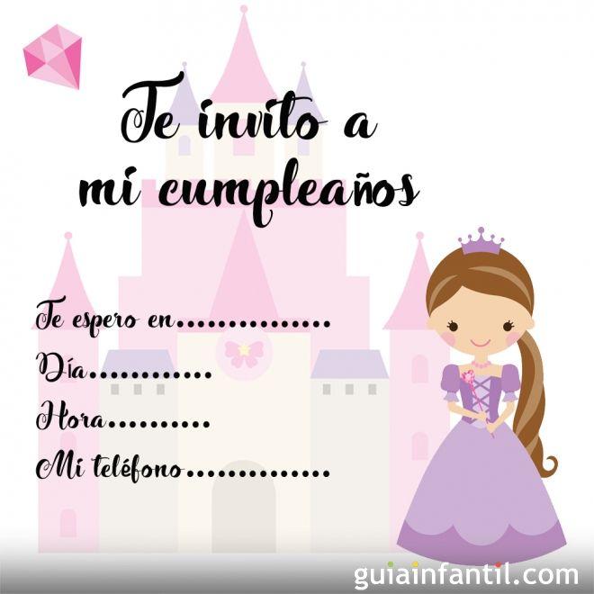 Invitaciones con princesas para fiestas de cumpleaños infantiles