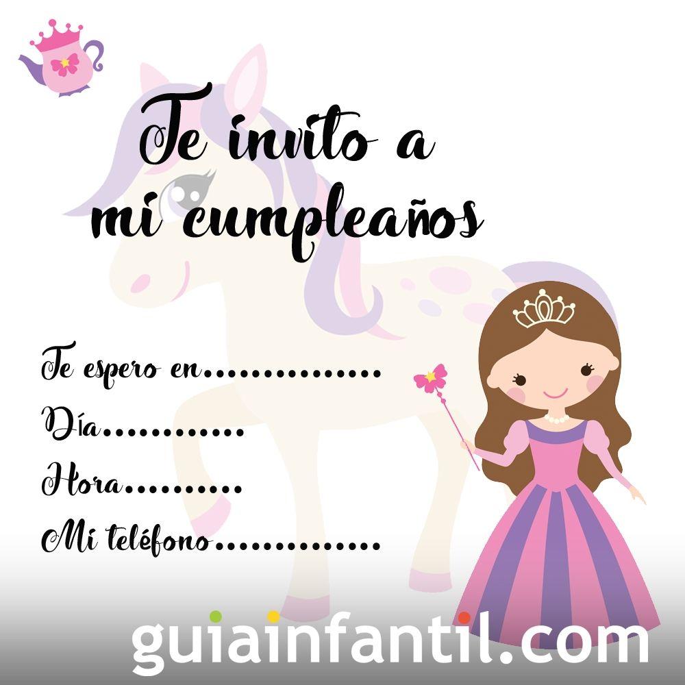 Invitaciones de cumpleaños con una princesa y su poni
