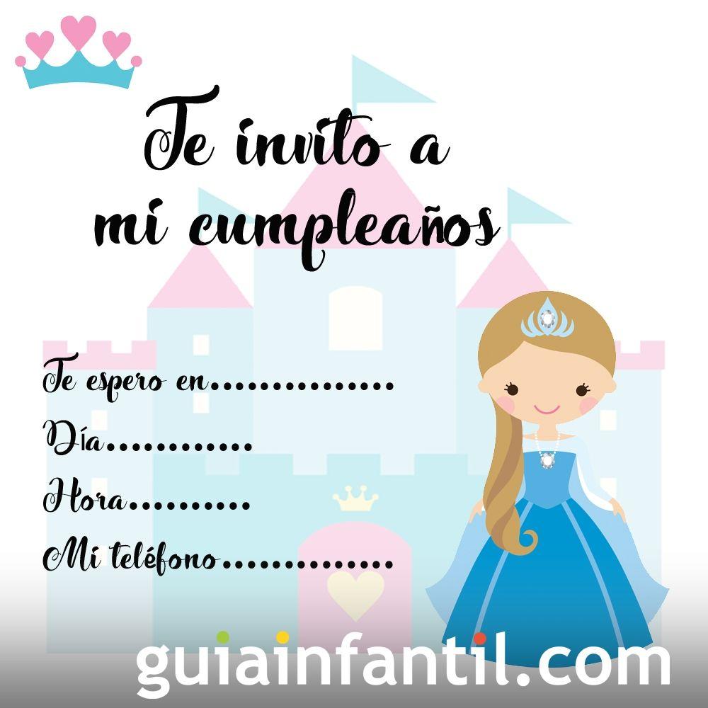 73daf9b1c3fc6 Tarjetas de invitación de cumpleaños infantiles con princesas