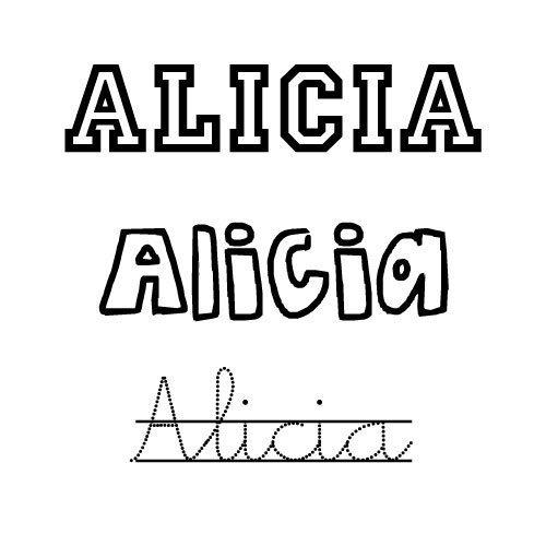 Dibujo del nombre para niñas Alicia para imprimir